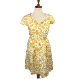 Boden Dress Size 10 Linen Floral Leaves Print